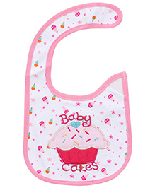 Carters Baby Cakes Print Baby Bib- Pink and White