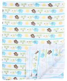 Carters Elephant and Monkey Print Baby Comforter- Blue