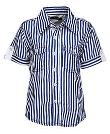 Via Italia  Stripe Print Shirt - Blue And White