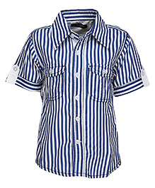 Via Italia  Stripe Print Shirt - Blue And White