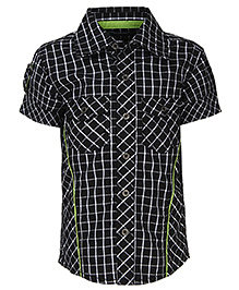 Via Italia Check Shirt With Green Piping - Black And White