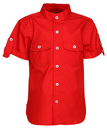 Via Italia Half Sleeves Chinese Collar Shirt - Red