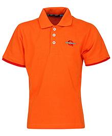 Via Italia Half Sleeves Basic Polo T Shirt - Orange
