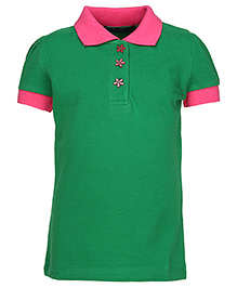 Via Italia Half Sleeves Contrast Colour Polo T Shirt - Green And Fuchsia