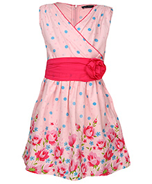 Via Italia Sleeveless Polka And Flower Print Frock - Fuchsia And Turquoise