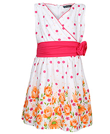 Via Italia Sleeveless Polka And Flower Print Frock - Orange And Fuchsia