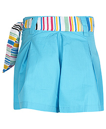 Via Italia Blue Divided Skirt With Stripe Print Belt