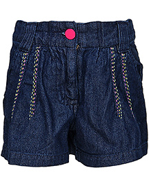 Via Italia Denim Shorts With Side Embroidery