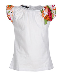 Via Italia Cap Sleeves Frock - Flower Applique