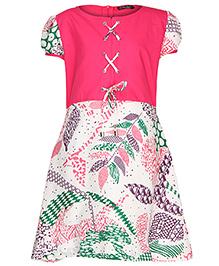 Via Italia Short Sleeves Leaf Print Frock- Pink