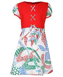 Via Italia Short Sleeves Leaf Print Frock- Red