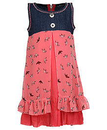 Via Italia Sleeveless Bird Print Frock- Pink