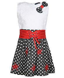 Via Italia Sleeveless Polka Dots Frock- Red