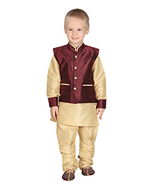 Ethniks Neu Ron Full Sleeves Kurta With Jodhpuri Style Pajama - Maroon and Cream