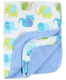 Carters Elephant Print Blanket- White and Blue