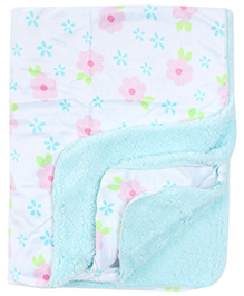 Carters Flower Print Blanket- Aqua Blue
