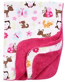 Carters Animal Print Blanket- White and Pink
