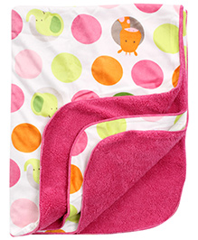 Carters Big Dotted Print Blanket- Pink and White