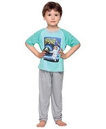Kanvin Space Kid Print Short Sleeves Nightwear- Green and Grey