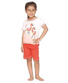 Kanvin Love To Dress Up Duck Print Nightwear- White and Red