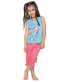Kanvin Magical Land of Dreams Print Cap Sleeveless Nightwear- Blue and Pink