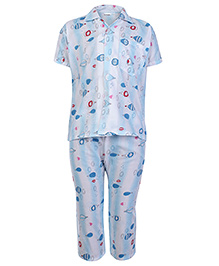 Sapphire Half Sleeves Parachute Printed Night Suit - Sky Blue