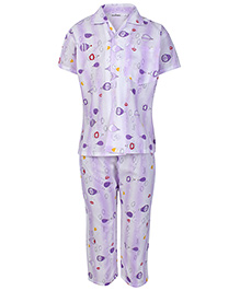 Sapphire Half Sleeves Parachute Printed Night Suit - Purple