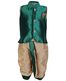 Ethniks Neu Ron Sleeveless Kurta And Dhoti Set - Green