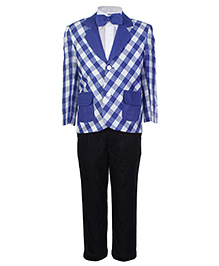 SAPS Full Sleeves 4 Pieces Party Suit with Check Print - Blue