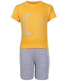 Babyhug Half Sleeves Printed T Shirt And Shorts - Yellow