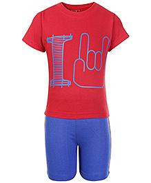 Babyhug Half Sleeves Printed T Shirt And Shorts - Red