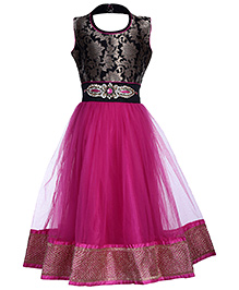 Babyhug Sleeveless Flower Gown Frock - Pink And Black