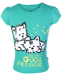Dreamszone Half Sleeves T-Shirt Kitty & Caption Print - Green