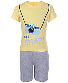 Babyhug Half Sleeves T-Shirt And Shorts Yellow - Snap Print