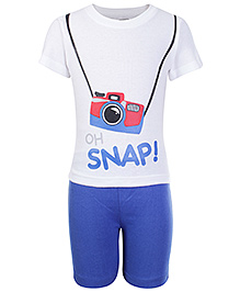 Babyhug Half Sleeves T-Shirt And Shorts White - Snap Print