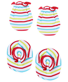Babyhug Mittens and Booties Set - Stripes Print