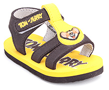 Tom and Jerry Dual Color Sandals with Velcro Strap - Yellow and Brown