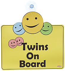 Signz Car Sign Board Twins On Board Print - Yellow