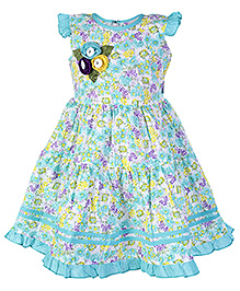 SAPS Flutter Sleeves Frock with Floral Print - Blue