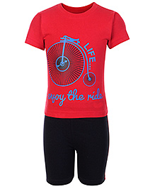 Babyhug Half Sleeves Printed T-Shirt And Shorts - Red