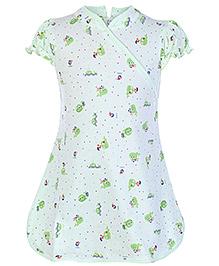 Cucumber Short Sleeves Printed Frock Light Green