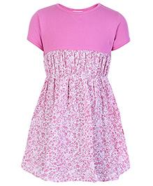 Dreamszone Half Sleeves Frock Solid & Printed Pattern - Pink