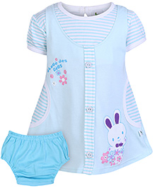 Cucumber Short Sleeves Frock With Bloomer Rabbit Patch - Blue