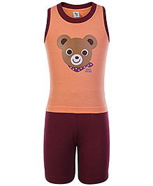 Cucumber Cucu House Bear Face Print T-shirt and Shorts Set- Brown and Maroon