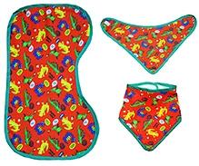Kadam Baby Dinosaur Printed Reversible Bib And Burpcloth - Set of 3