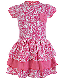 FS Mini Klub Short Sleeves Frock With Layers - Pink