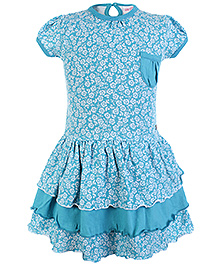 FS Mini Klub Short Sleeves Frock With Layers - Blue