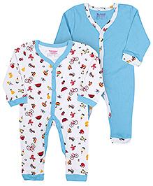 Morisons Baby Dreams Full Sleeves Romper Blue - Set of 2