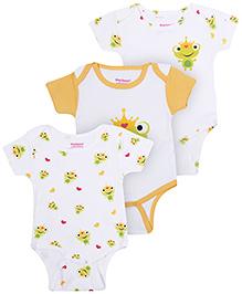 Morisons Baby Dreams Half Sleeves Onesies Yellow - Set Of 3