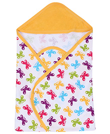 Morisons Baby Dreams Yellow Hooded Towel - Butterfly Print